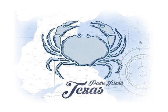 Padre Island, Texas - Crab - Blue - Coastal Icon-Lantern Press-Art Print