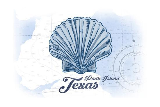 Padre Island, Texas - Scallop Shell - Blue - Coastal Icon-Lantern Press-Art Print