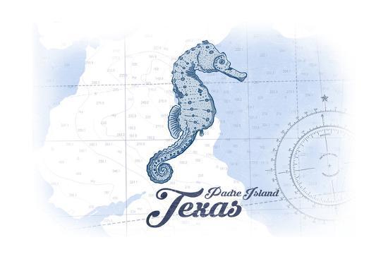Padre Island, Texas - Seahorse - Blue - Coastal Icon-Lantern Press-Art Print