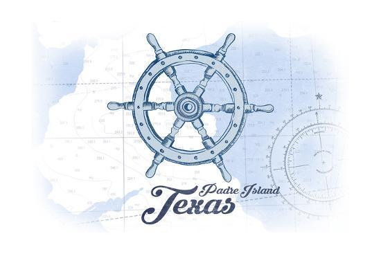 Padre Island, Texas - Ship Wheel - Blue - Coastal Icon-Lantern Press-Art Print