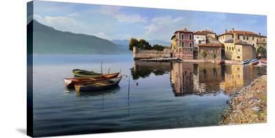 Paese sul lago-Adriano Galasso-Stretched Canvas Print