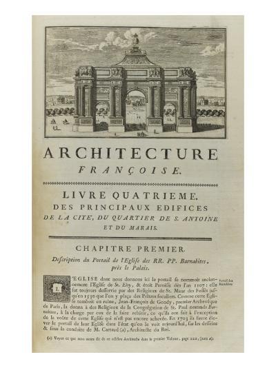 Page  99 : page de titre du Livre Quatrième . Vue de l'arc de triomphe en l'honneur de Louis XIV-Pate-Giclee Print