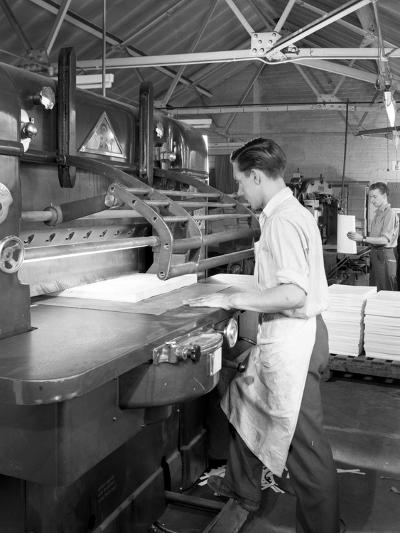 Page Cutting Guillotine in Use at a South Yorkshire Printing Company, 1959-Michael Walters-Photographic Print