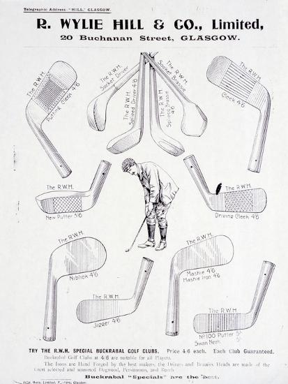 Page from a golf equipment catalogue, c1925-c1940-Unknown-Giclee Print