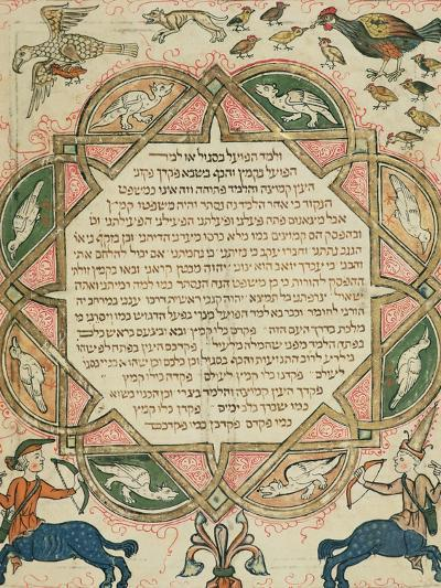 Page from a Hebrew Bible Depicting Domestic Animals and Centaurs, 1299-Joseph Asarfati-Giclee Print