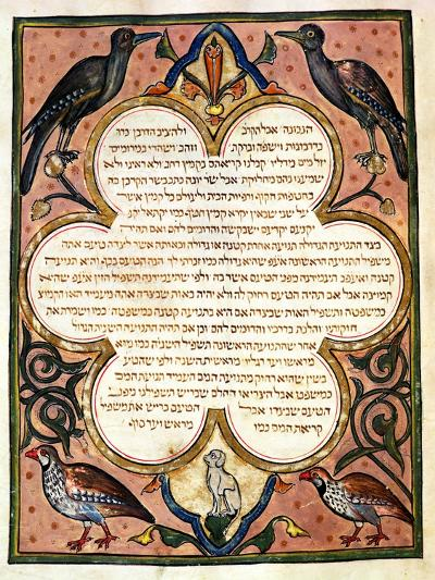 Page from a Hebrew Bible with Birds, 1299-Joseph Asarfati-Giclee Print
