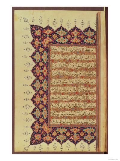 Page from a Koran Manuscript--Giclee Print