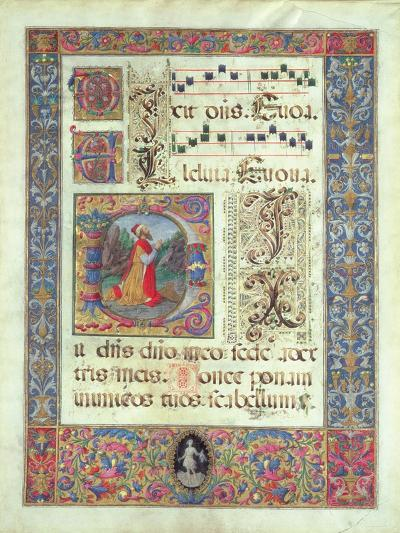 Page from a Manuscript with a Historiated Initial 'D' Depicting King David, C.1480 (Vellum)-Giuliano Amadei-Giclee Print