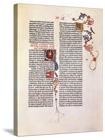 Page from the Bible for 42 Lines or Mazarinaed by Johan Gutenberg 15th Century.--Stretched Canvas Print
