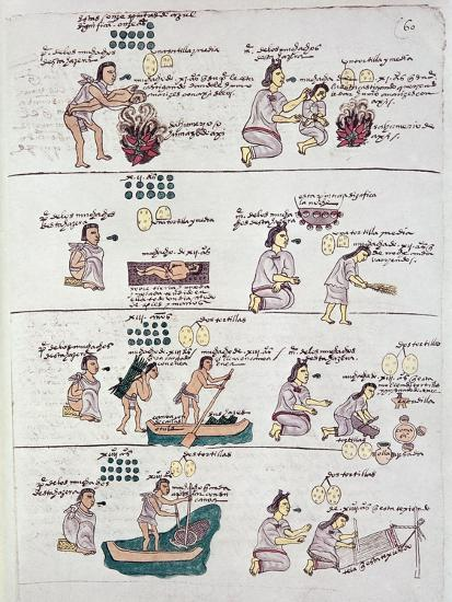 Page from the Codex Mendoza, Showing Discipline and Chores Assigned to Children, Mexico, c.1541-42--Giclee Print