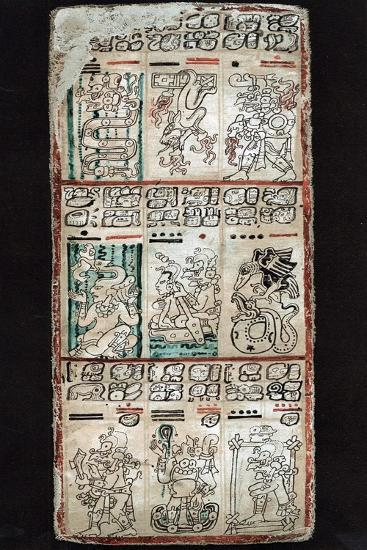 Page from the Dresden Codex, Maya manuscript. Artist: Unknown-Unknown-Giclee Print