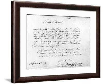 Page from Violinist Franz Joseph Clement'S--Framed Giclee Print