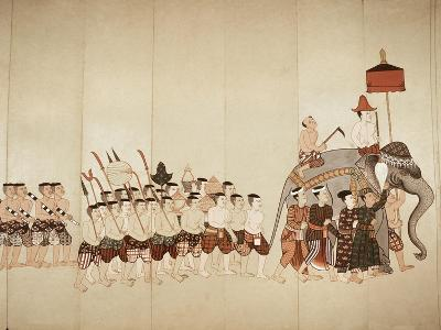Page of a Manuscript Showing a Procession Bringing an Offering to a Temple, Early 20th Cenntury--Giclee Print