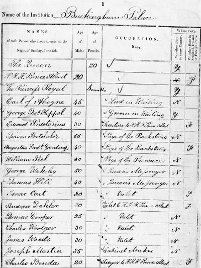 Page of Buckingham Palace Census Return for 1841--Giclee Print