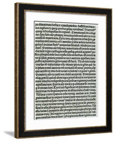 Page of Chapter V of Etymologiae, De Terra Et Partibus, Geography, Book 14th, Isidore of Seville--Framed Giclee Print
