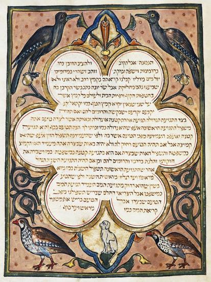 Page of Hebrew Bible Illuminated by Joseph Assarfati, Cervera Bible Manuscript, 1299--Giclee Print