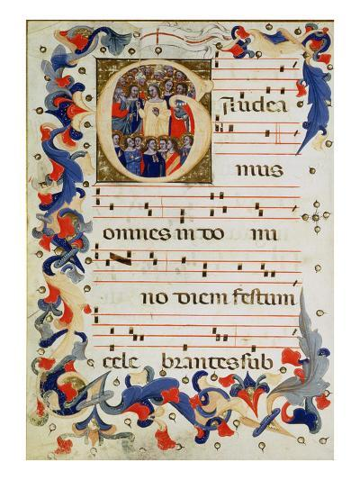Page of Musical Notation with a Historiated Initial 'G' Depicting a Group of Saints with St. Ursula-Italian-Giclee Print