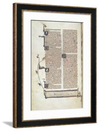 Page of Text with Trompe L'Oeil Effect of Figures Hauling with Ropes on a Textual Omission--Framed Giclee Print