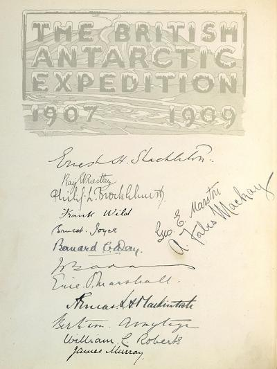 Page with Signatures from 'The Heart of the Antarctic'--Giclee Print