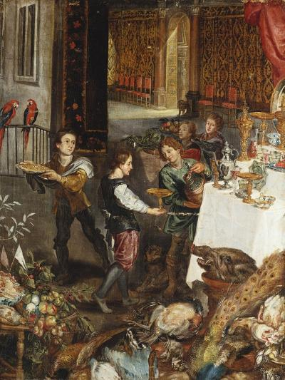 Pages at a Banquet in a Palatial Interior with a Still Life of Fruit and Game in the Foreground - a--Giclee Print
