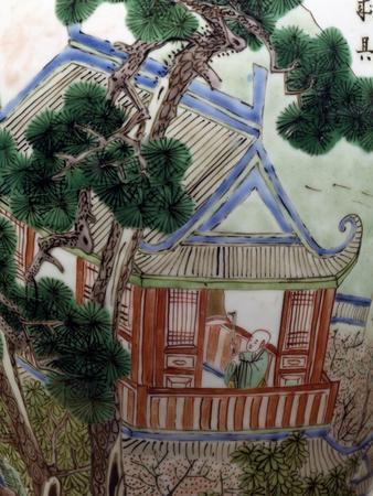 Pagoda in a Garden, Famille Verte--Giclee Print