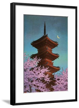 Pagoda in Moonlight-Kawase Hasui-Framed Art Print