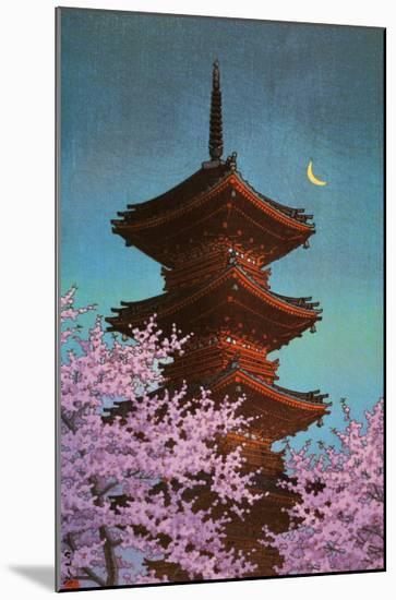 Pagoda in Moonlight-Kawase Hasui-Mounted Art Print