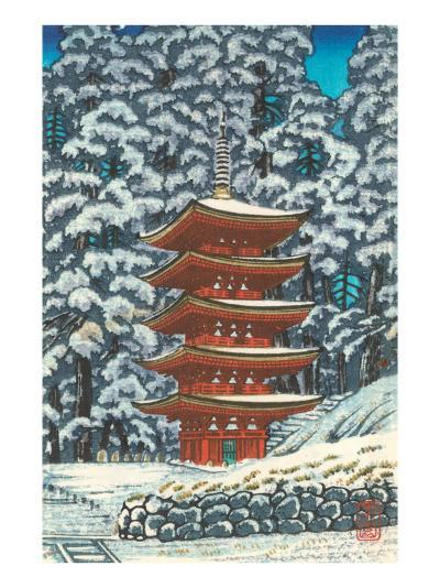Pagoda in the Snow--Art Print