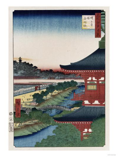 Pagoda of Zojoji, Akabane', from the Series 'One Hundred Views of Famous Places in Edo'-Ando Hiroshige-Giclee Print