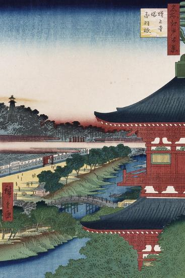 Pagoda of Zojoji, Akabane', from the Series 'One Hundred Views of Famous Places in Edo'-Utagawa Hiroshige-Giclee Print