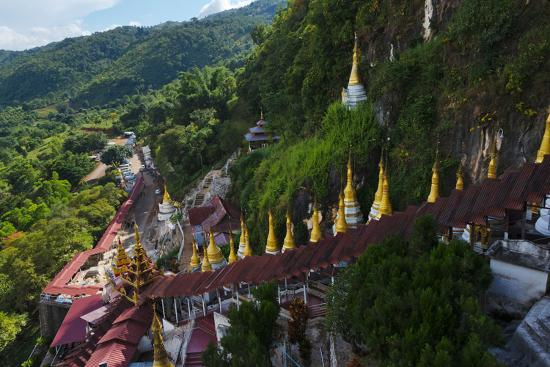 Pagodas and Stairs Leading to Pindaya Cave, Shan State, Myanmar-Keren Su-Photographic Print