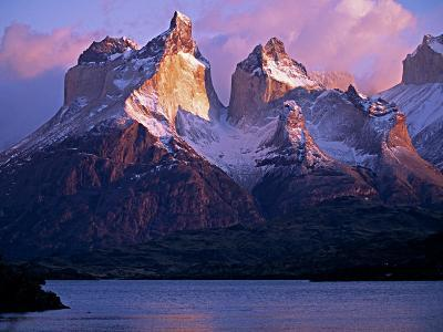 Paine Massif at Dawn, Seen across Lago Pehoe, Torres Del Paine National Park, Chile-John Warburton-lee-Photographic Print