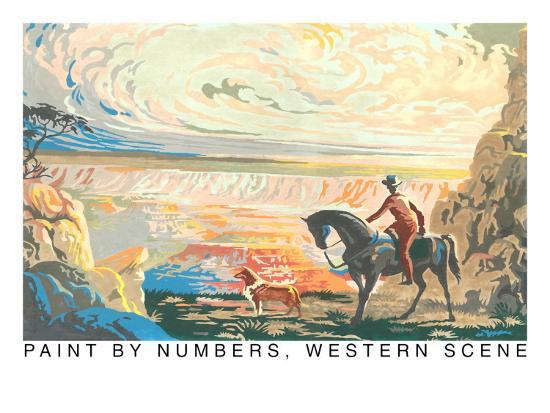 Paint by Numbers, Western Scene--Art Print