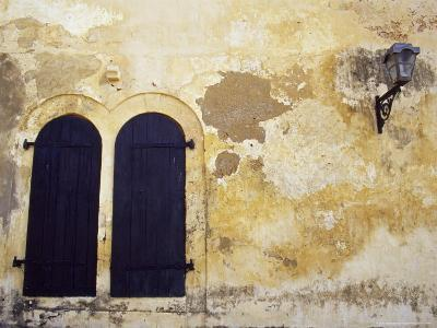 Paint Peeling Off an Antique Wall and Shuttered Windows and a Lantern-Jason Edwards-Photographic Print