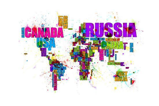 Paint Splashes Text Map of the World-Michael Tompsett-Art Print