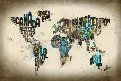 Paint Splashes Text Map of the World-Michael Tompsett-Art Print