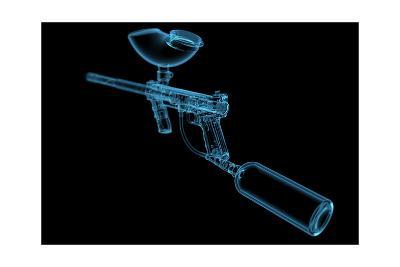 Paintball Gun (3D Xray Blue Transparent)-sauliusl-Art Print