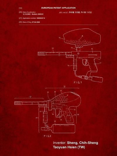 Paintball Gun Patent Art-Cole Borders-Art Print