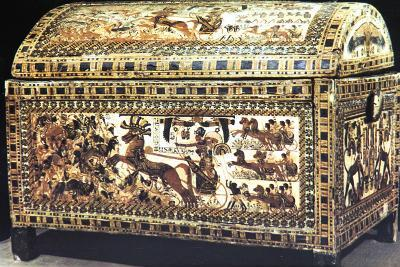 Painted and Inlaid Coffer from the Treasure of Tutankhamun, Ancient Egyptian, C1325 Bc--Photographic Print