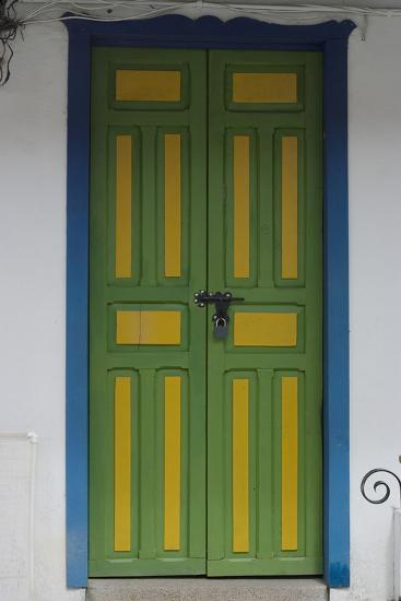Painted Doorway in the Town of Salento, in the Coffee Growing Region, Colombia-Natalie Tepper-Photo