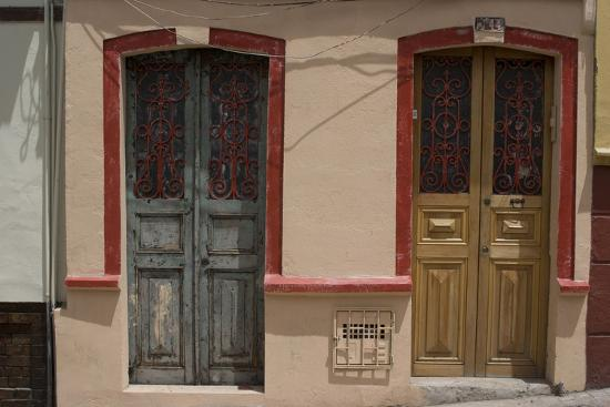 Painted Doorways in La Candelaria (Old Section of the City), Bogota, Colombia-Natalie Tepper-Photo