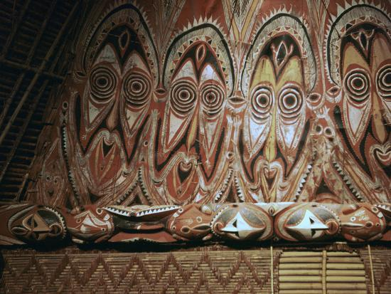 Painted gable-wall of a cult-house from New Guinea-Unknown-Photographic Print