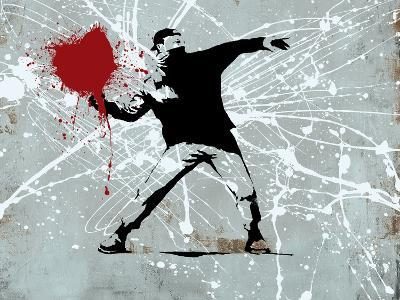 Painted heart Thrower-Banksy-Giclee Print