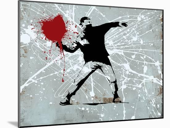 Painted heart Thrower-Banksy-Mounted Giclee Print