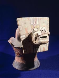 Painted Incense Burner Adorned with a Cat's Head, Artifact Originating from Tiahuanaco