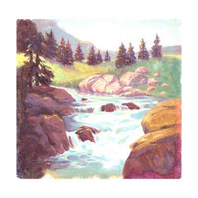 Painted Landscape of Stream Rushing over Rocks--Art Print