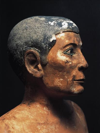 Painted Limestone Statue of the Seated Scribe from Saqqara, Detail--Giclee Print