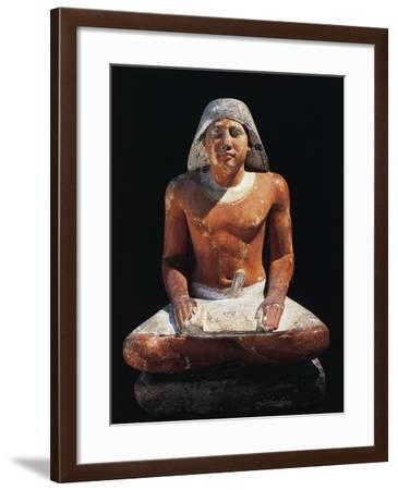 Painted Limestone Statuette of Scribe Seated, from Pharaoh Cheops' Period, from Giza, Egypt--Framed Giclee Print