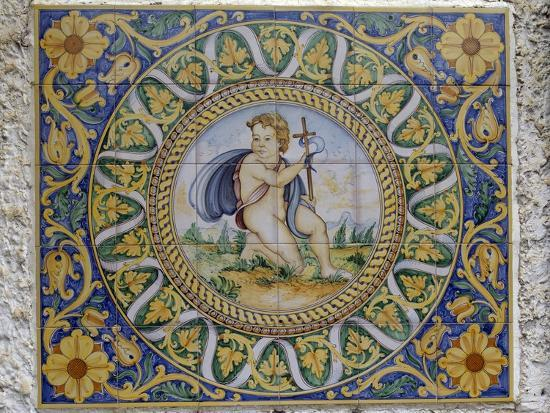 Painted Maiolica Panel Depicting Infant Jesus--Giclee Print