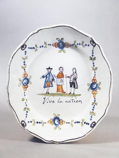 Painted Plate, Ceramic, Aire-Sur-La-Lys Manufacture, Nord-Pas-De-Calais, France--Giclee Print